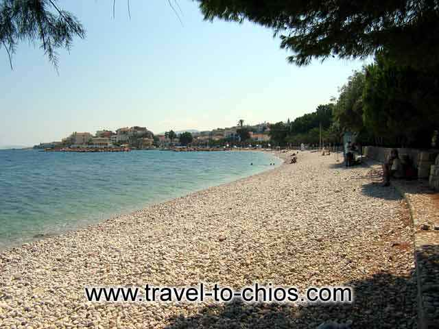 DASKALOPETRA BEACH - View of the great pebble beach of Daskalopetra (Homer's stone) in Chios island Greece