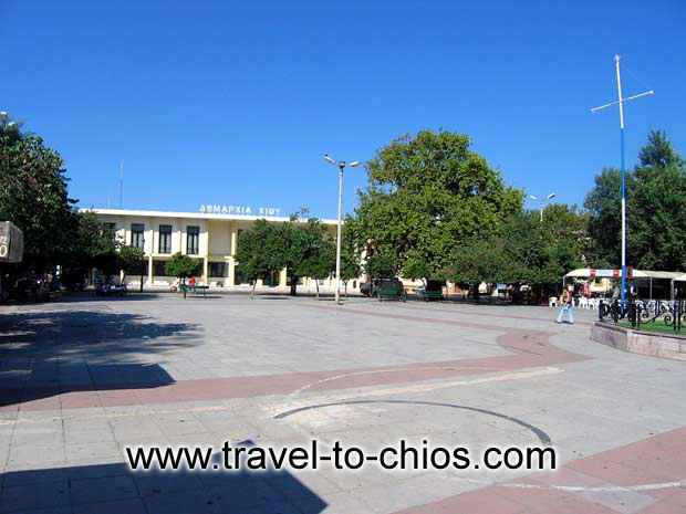 CHIOS HALLTOWN - View of the halltown and the square in front of it in Chora (Chios town) Greece
