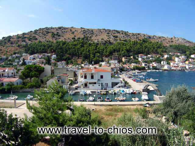 LAGADA VILLAGE - View from above of the small fishing boats port of Lagada village in Chios island Greece