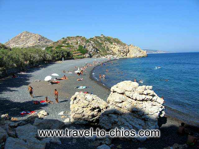 MAVRA VOLIA BEACH - View of one of the most famous beaches in Chios. Mavra volia (black stones in Greek) or Mavros Gialos.