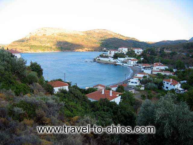 NAGOS BEACH - View from above of the small beach of Nagos in the area of Kardamyla in Chios island Greece