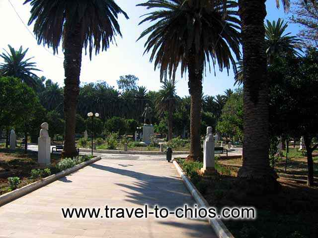View of the park in the center of Chora (Chios town). Visible among others Kanaris statue CHIOS PHOTO GALLERY - CHIOS CENTER PARK