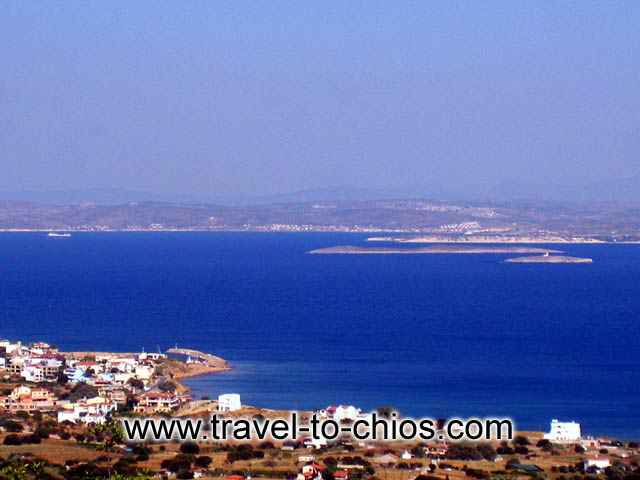 TURKEY VIEW - Amazing view from above Megas Limnionas in Chios island of the beach and in the background Jesme in Turkey
