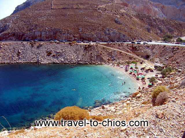 GRARI BEACH  VRODADOS - View from above of the great beach Grari in the area of Vrondados at Chios island Greece