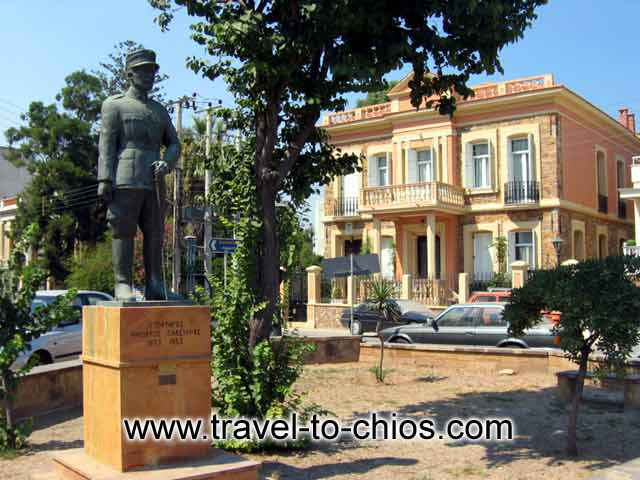 PLASTIRAS STATUE - The monument of Plastiras in front of the building where he had his headquarters inside Chios town (close to the port).
