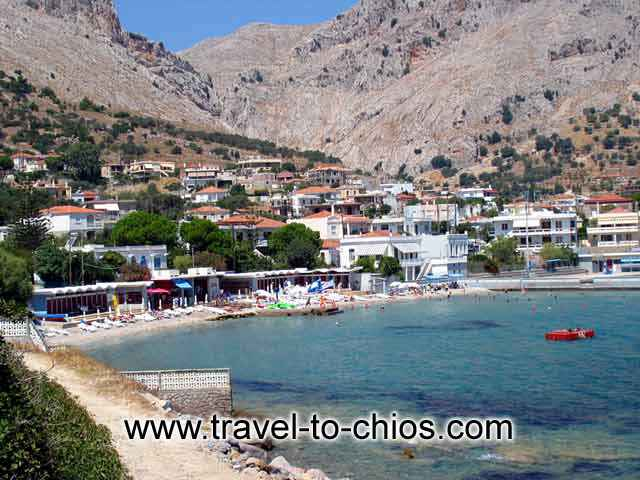 View of the small beach of Lo in the area of Vrondados in Chios island Greece