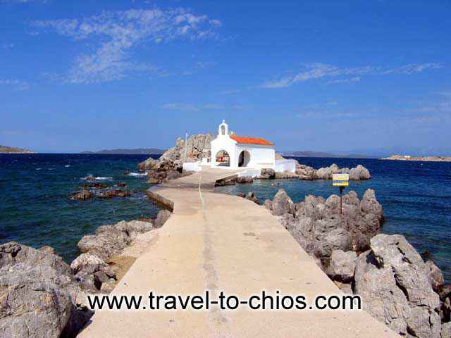 AGIOS ISIDOROS LAGADA - View of the small church of Agios Isidoros at Lagada Chios island Greece