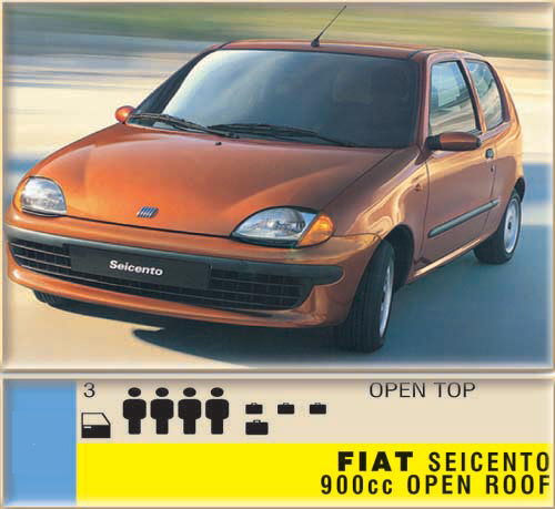 Fiat Seicento 900cc open roof CLICK TO ENLARGE